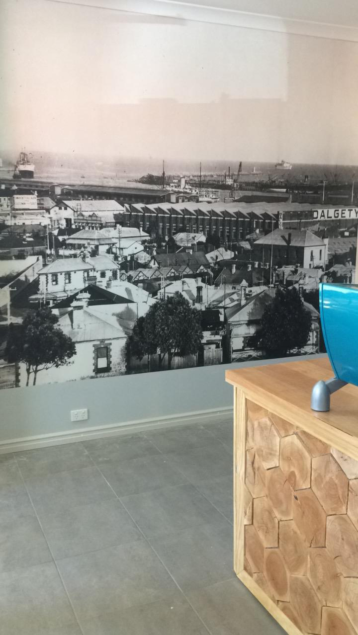 Mural of Fremantle in the 1930s in the Broody Hen cafe Fremantle